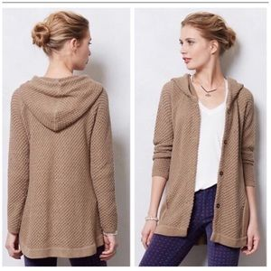 Anthropologie Scallop Stitch Hoodie Sweater